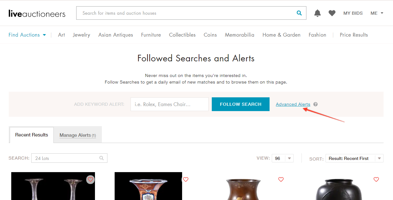 Setting Alerts - LiveAuctioneers Knowledge Base