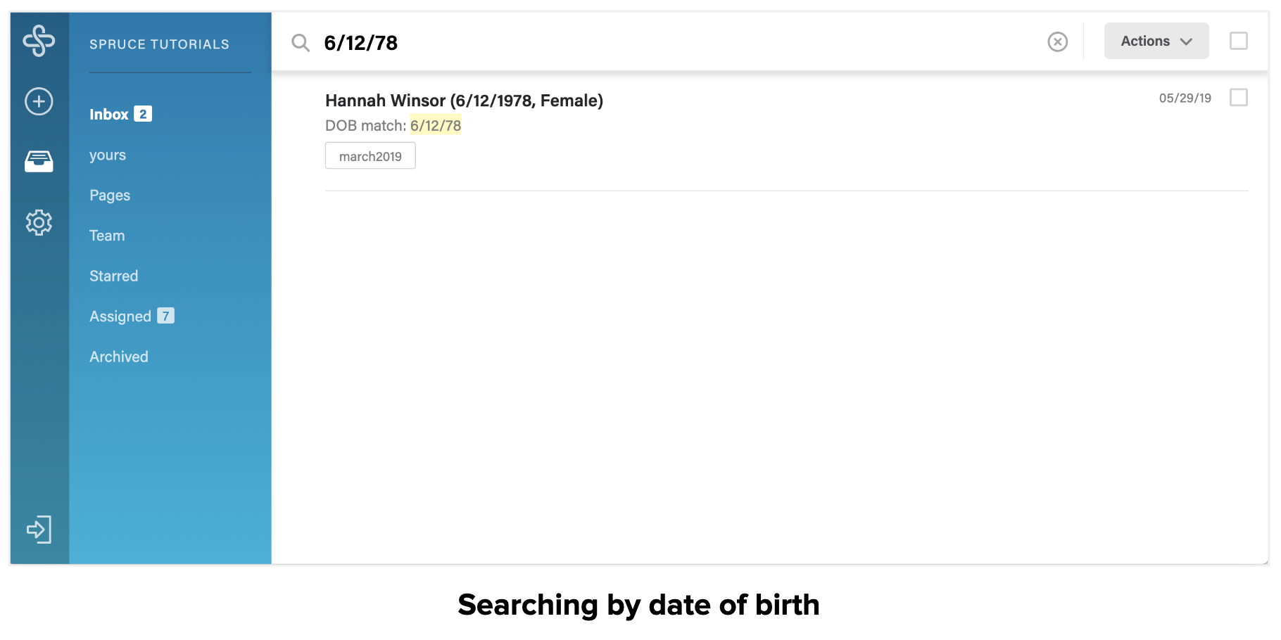 Searching by date of birth