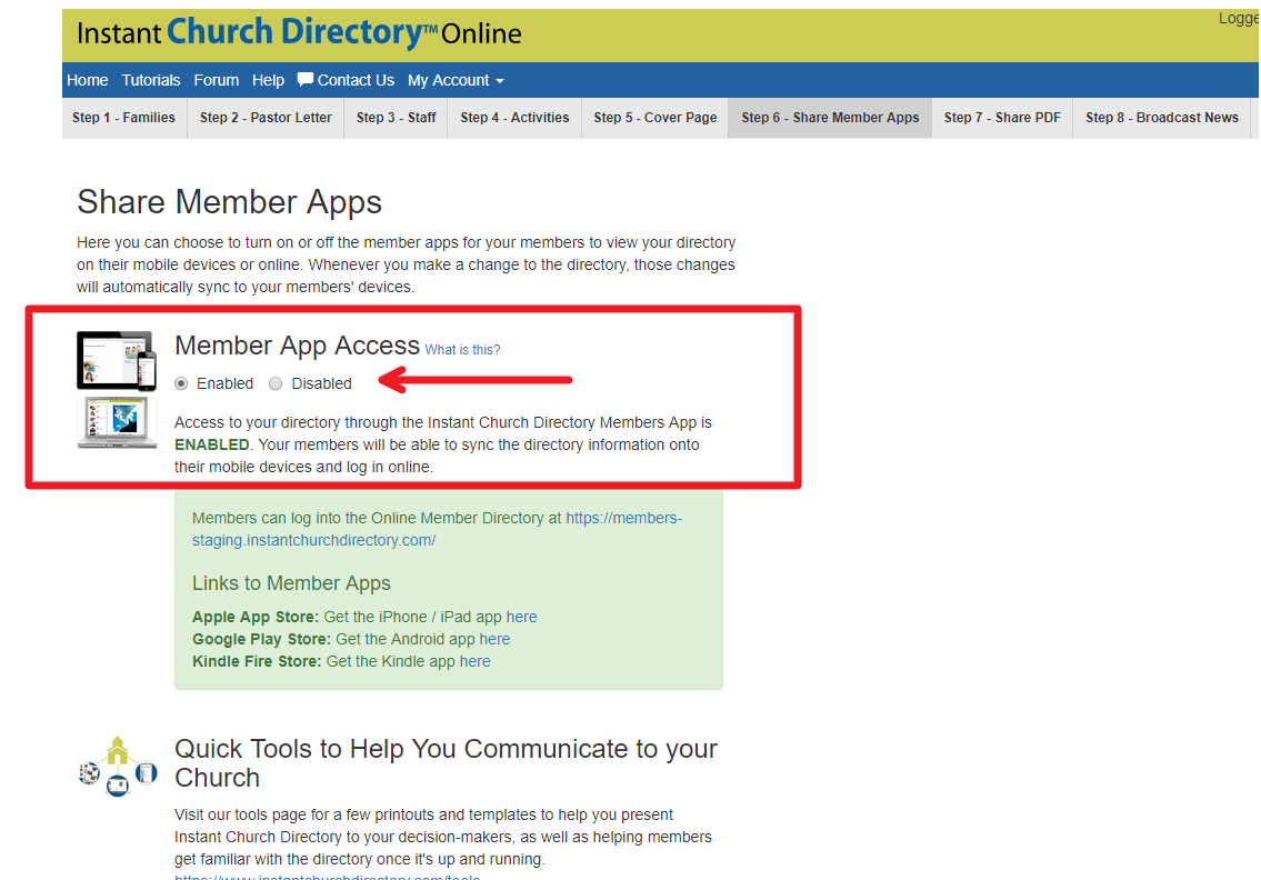 Enabling your directory for Mobile and Online access to members