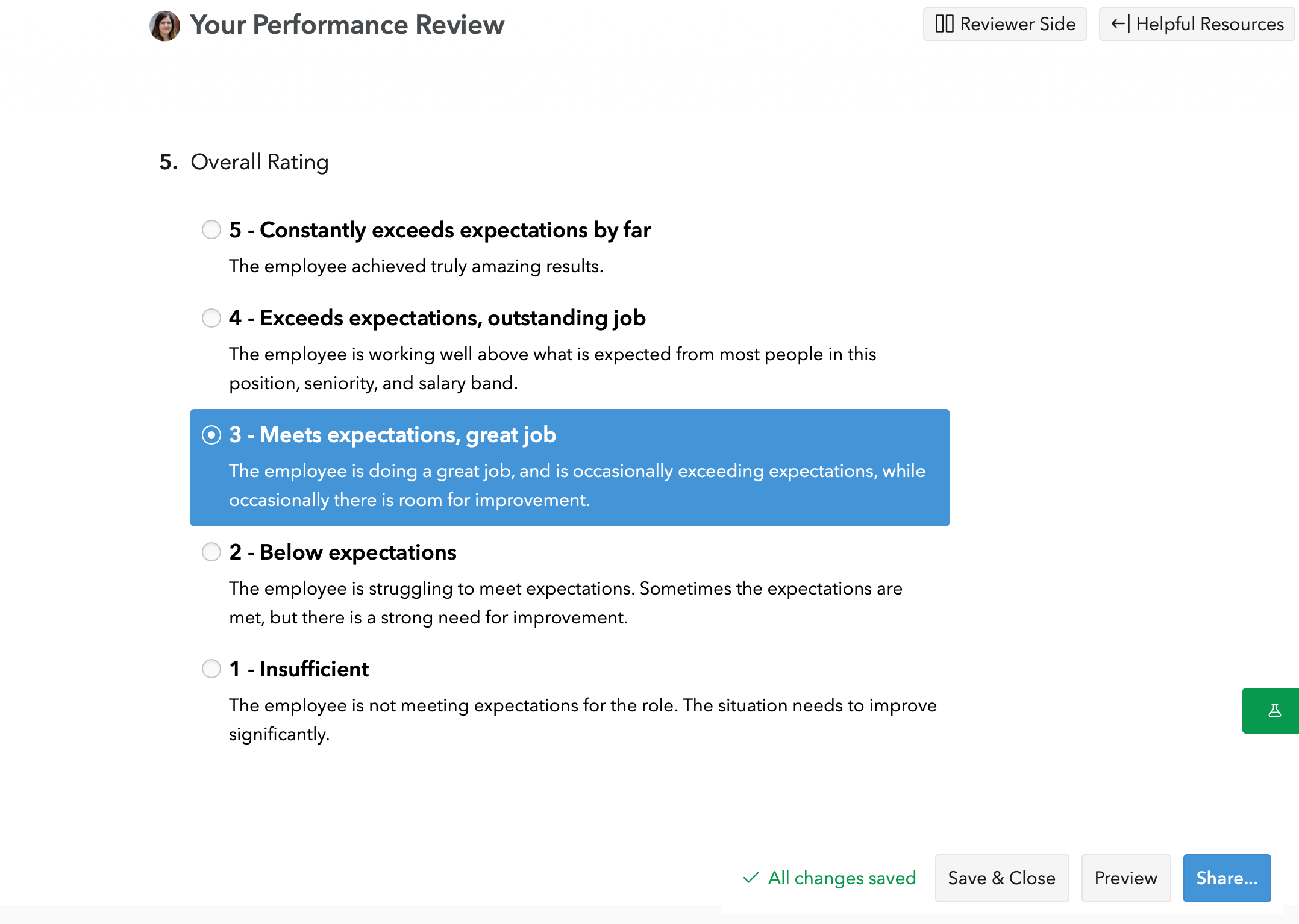 New Performance Review writing experience - Small Improvements