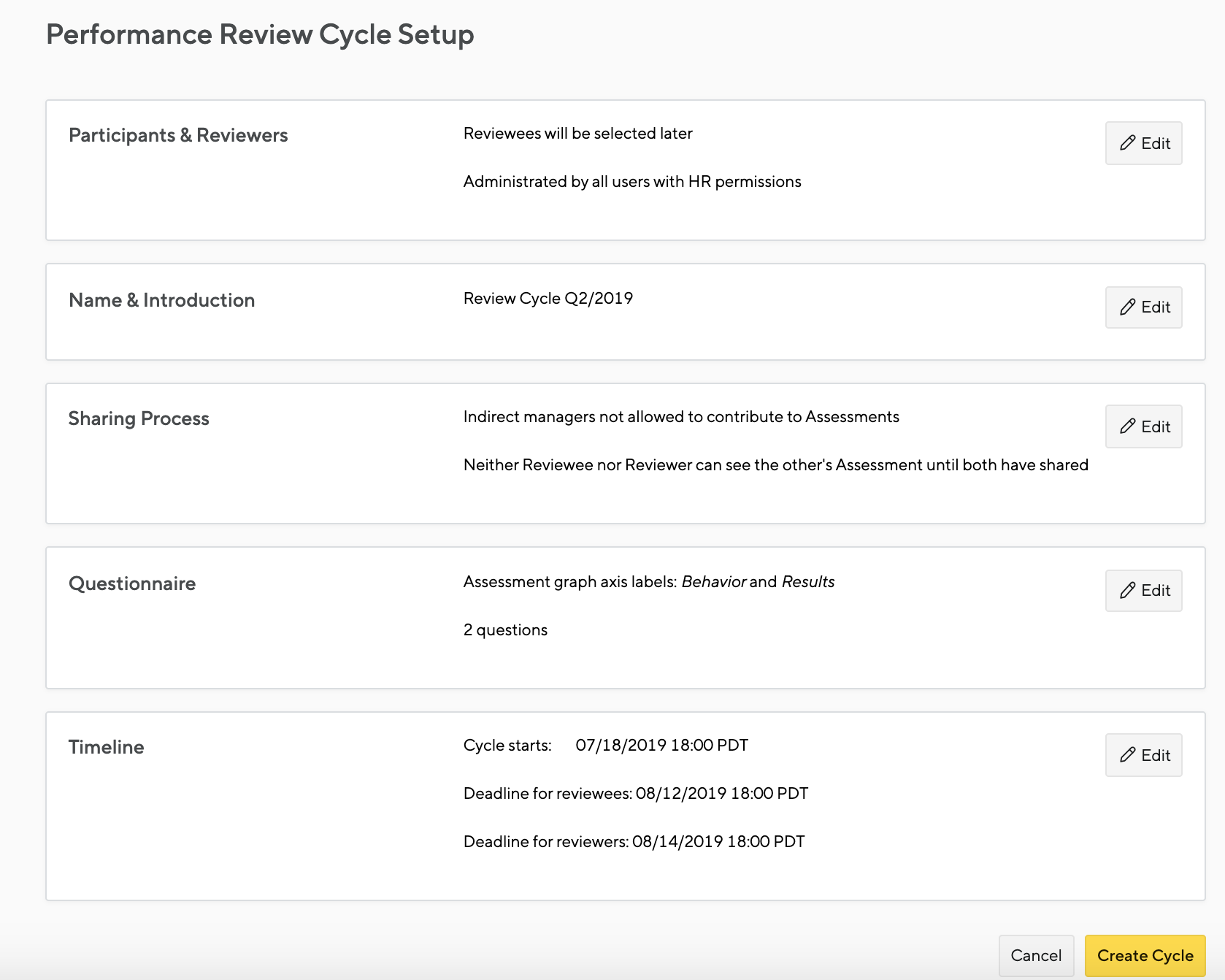 Kicking off, administering a review cycle - Small Improvements