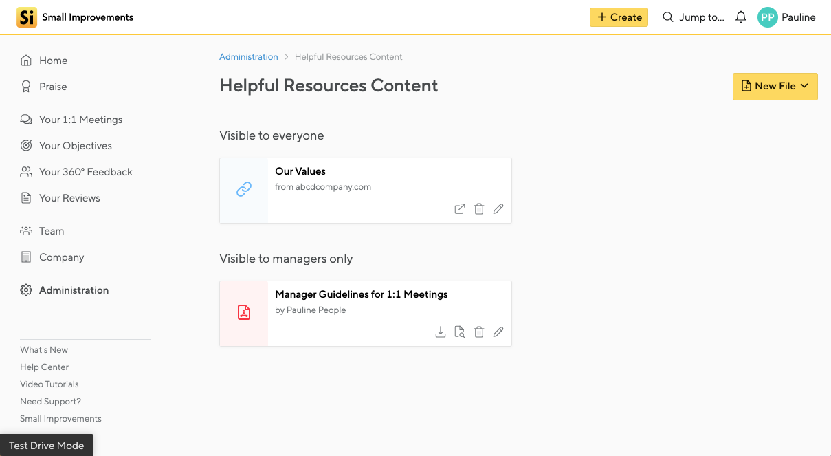 Helpful Resources Content Configuration Screen