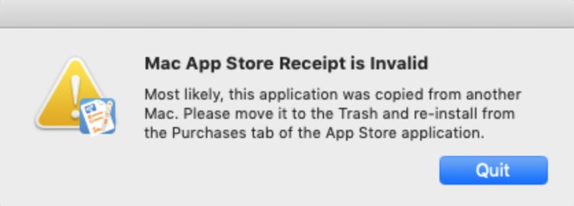Mac App Store receipt is invalid error - Smile Knowledge Base