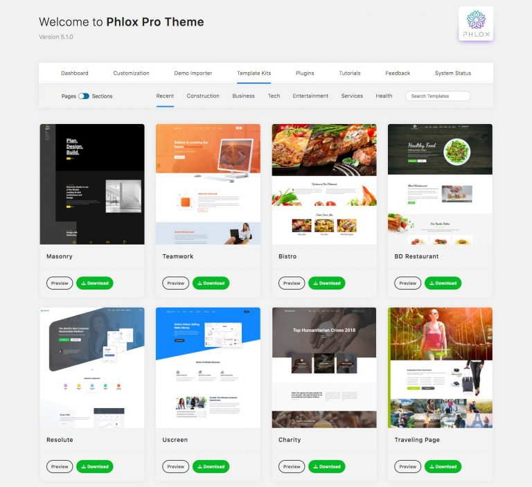 Importing Pages and Sections with Phlox Template Kits and Elementor
