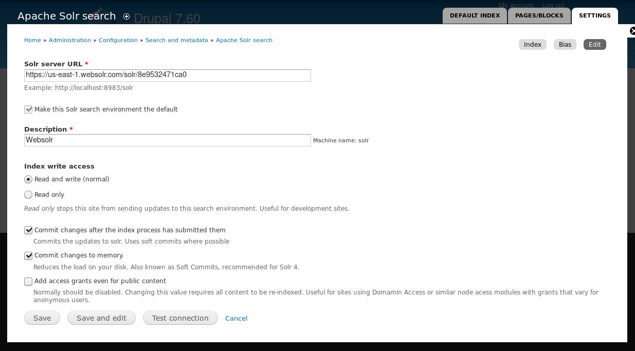 Drupal / Apachesolr - Websolr