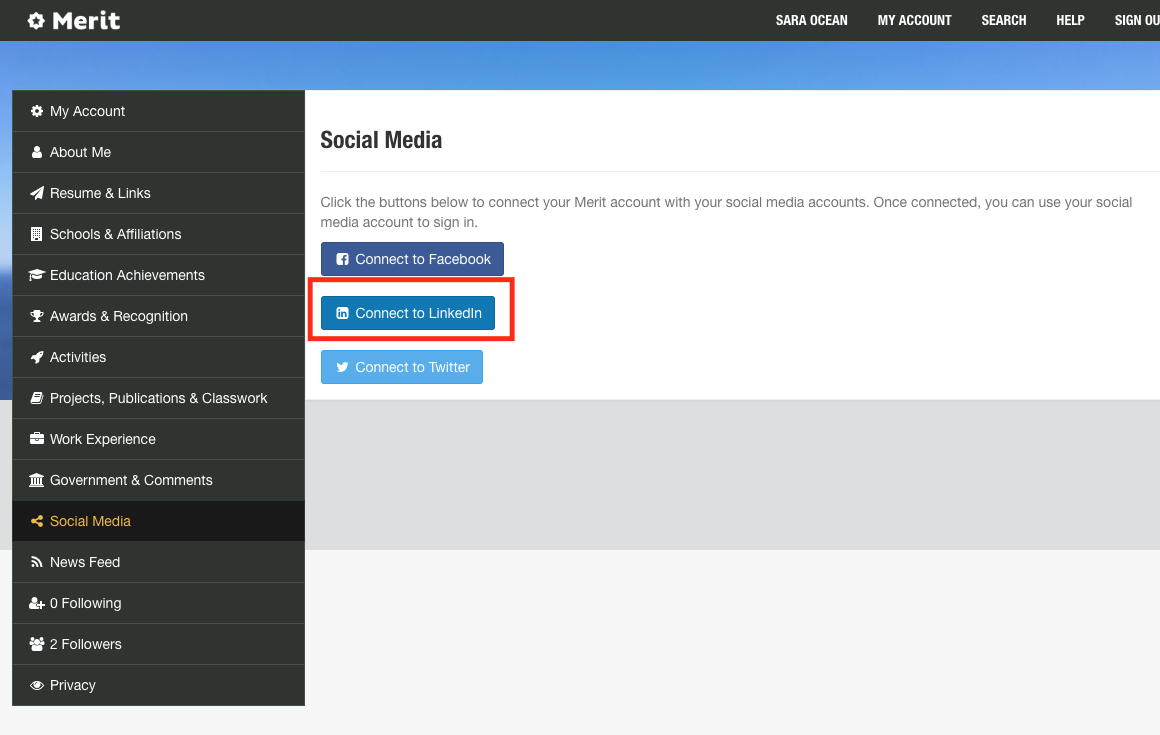 Connect your social media accounts - Merit Student Knowledge