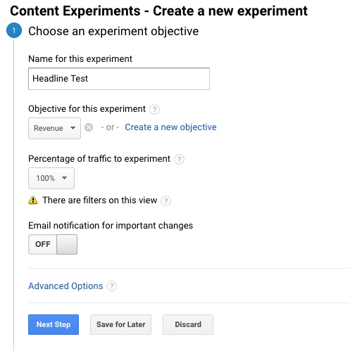 google analytics content experiment