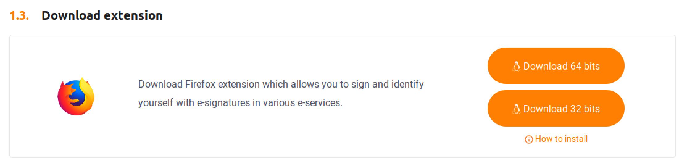 Mozilla Firefox extension and e-signature device drivers