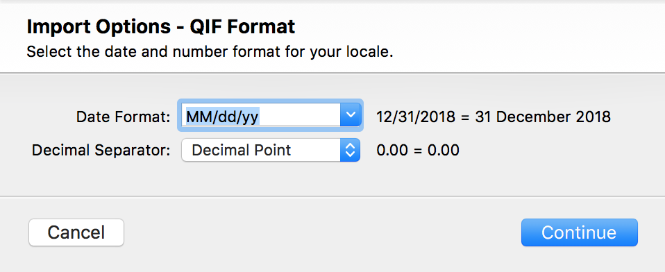 QIF Import options