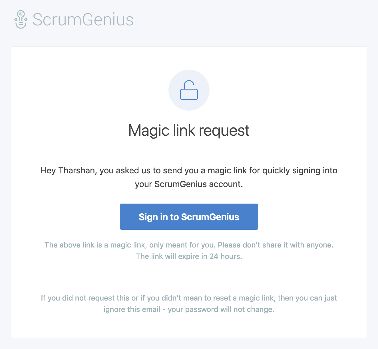 ScrumGenius Magic Link