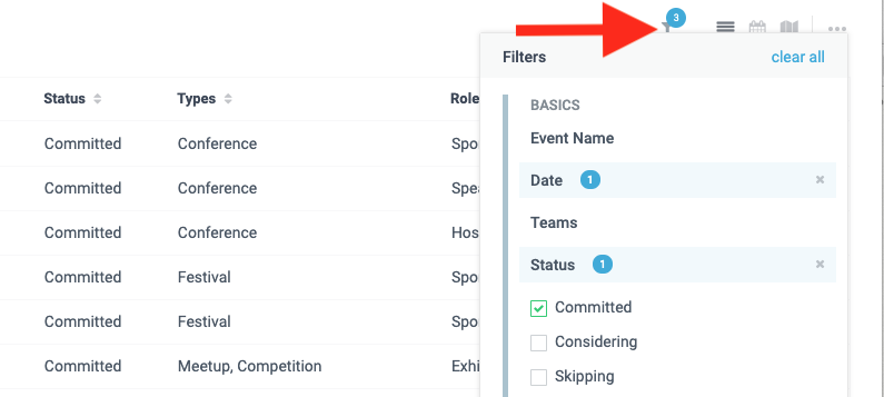 How do I customize my view of the Events Dashboard by adding