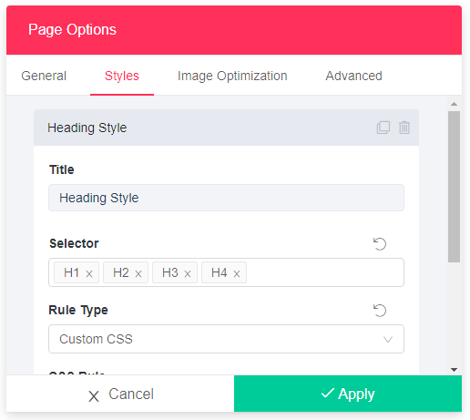 Quix - Style Page Settings