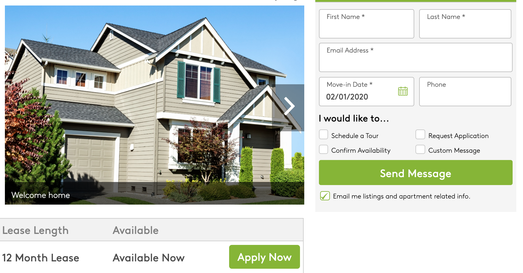Apply button on Apartments.com