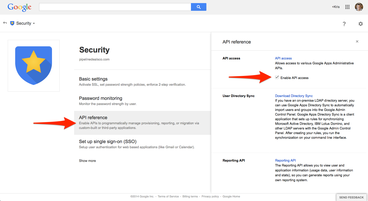 Google: Enable API Access - Knowledge Base | PipelineDeals