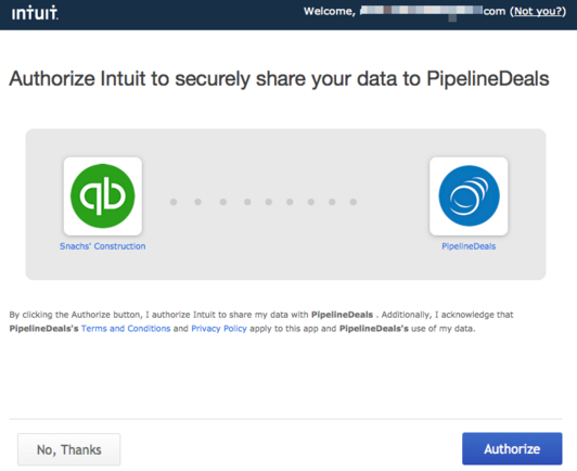 Authorize Intuit to share data with PipelineDeals