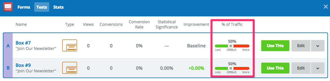 Sumo List Builder - Adjusting traffic percentages