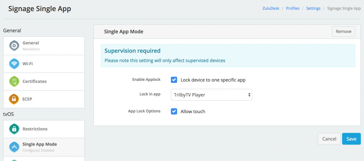 Single App Mode settings as seen in ZuluDesk