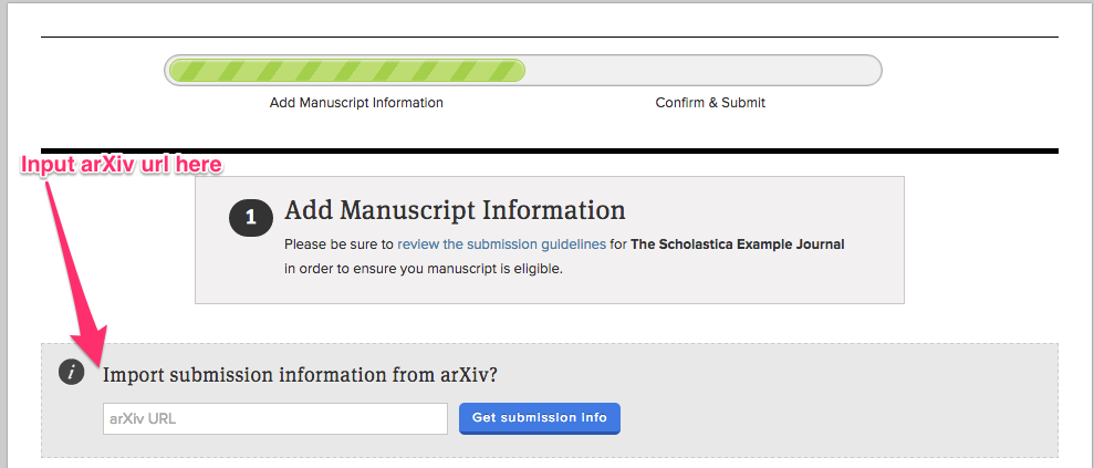 Image displaying the first step of the submission process with an arrow indicating where to input your arxiv url
