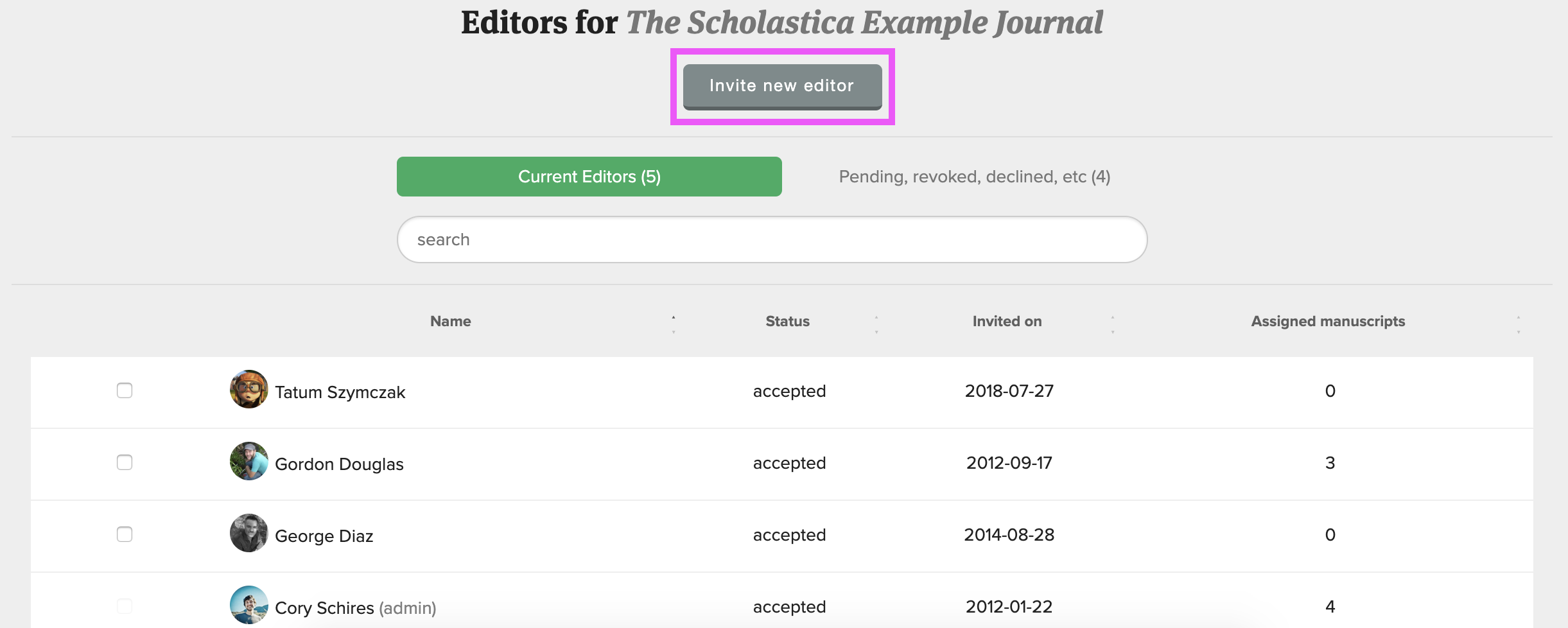 Screenshot of editors table showing how to invite new editors to Scholastica