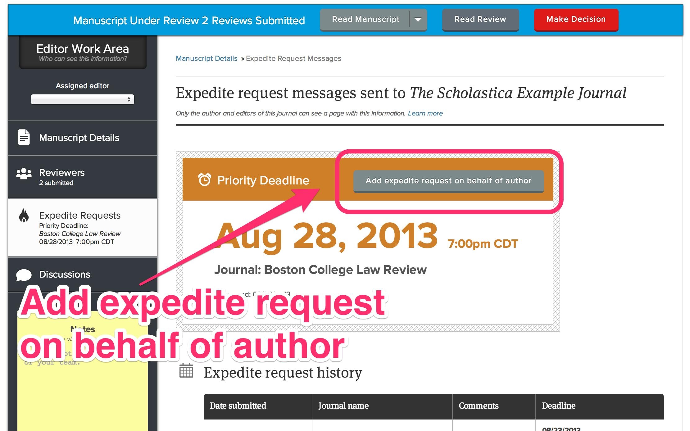 Add expedite request on behalf of author