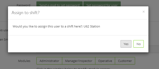 "Click ""Yes"" to add the user to a shift"