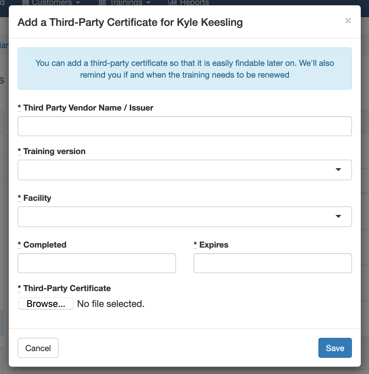 Third-Party Certificate Form