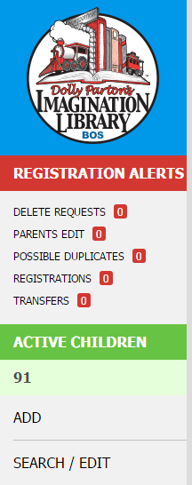 Registration Alerts - Sidebar Menu
