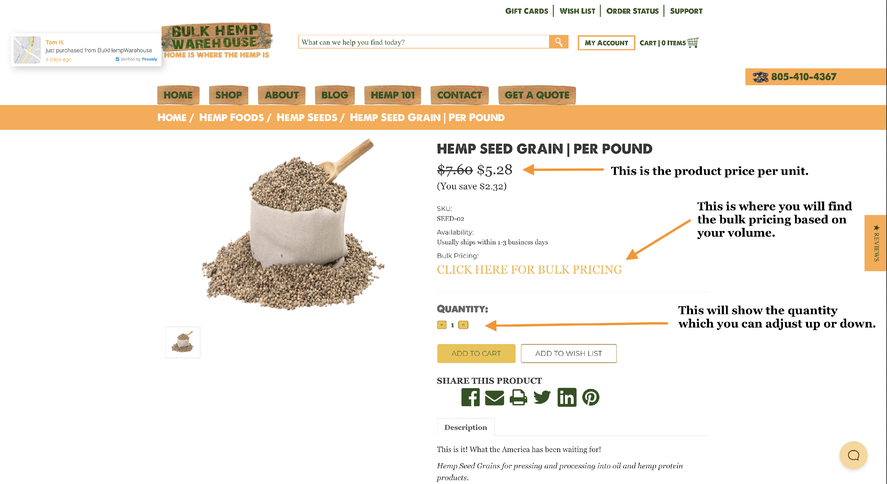 Bulk Hemp Pricing for a Product