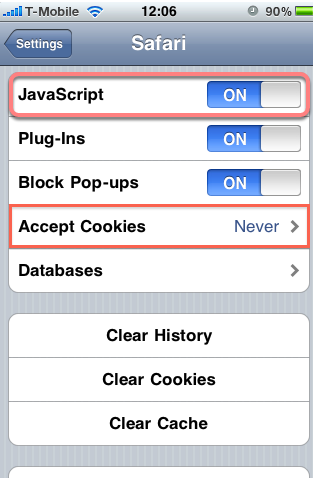 Troubleshooting: Accept Cookies in your iPhone browser to