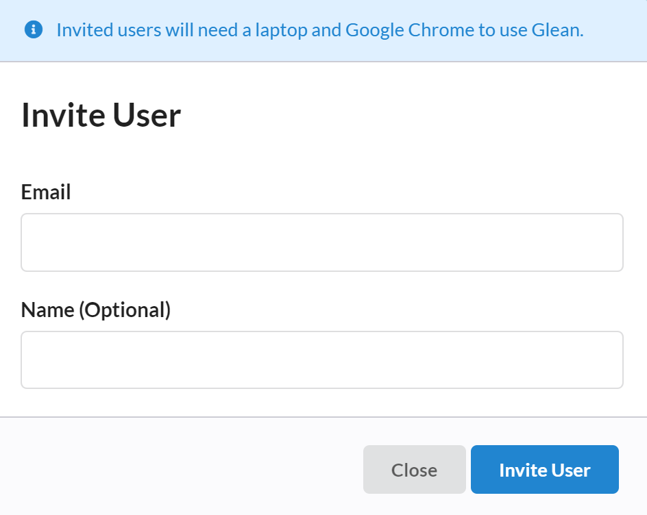 Invite User Dialog with fields for Email Address and Name (Optional), an Invite User button and a Close button