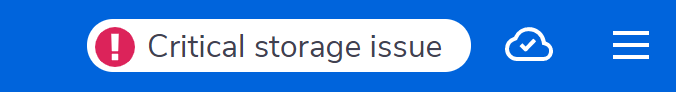 Critical storage issue warning in Glean's header bar.