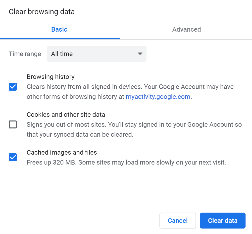 Clear Browsing Data options in Google Chrome.