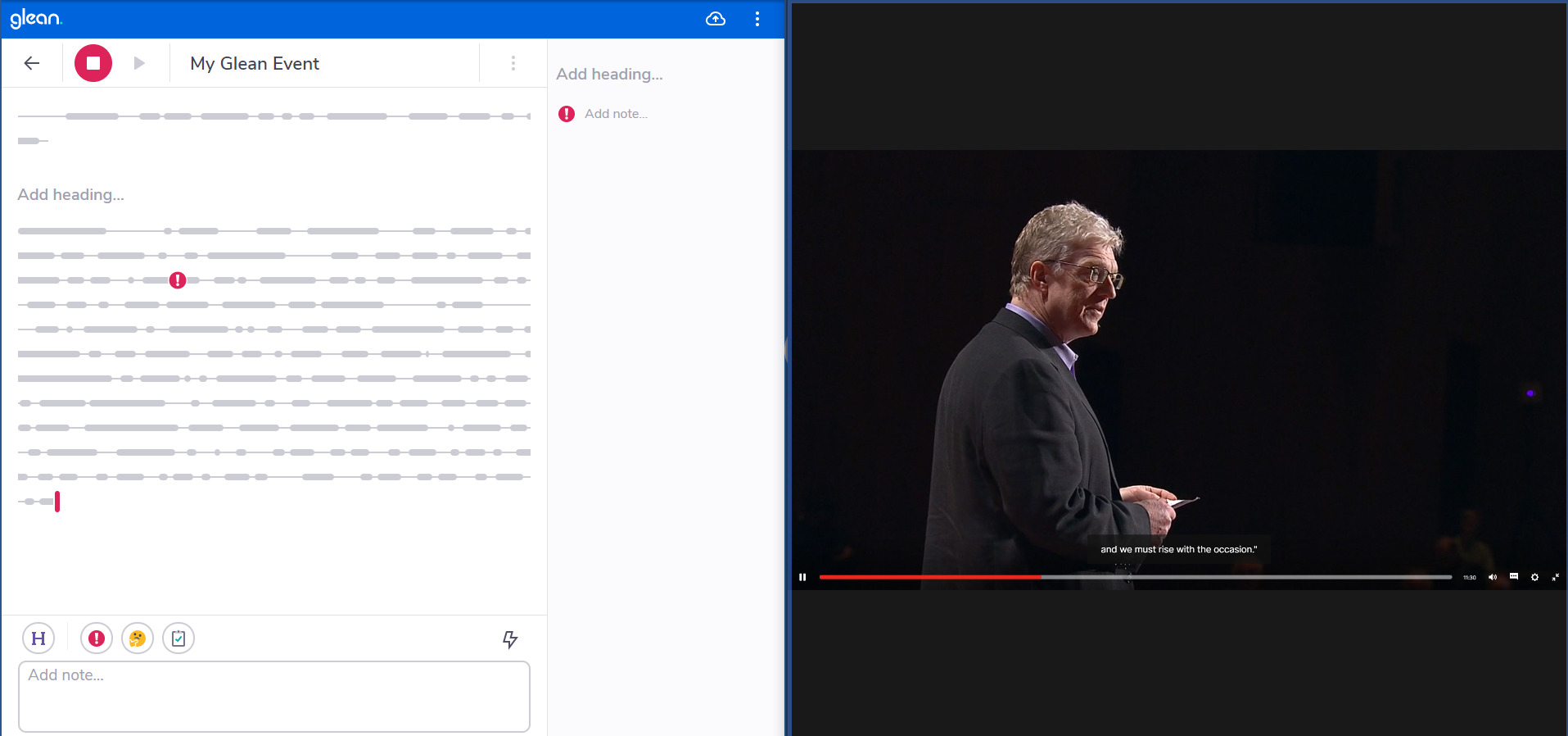 Glean and an online video side-by-side in split screen.