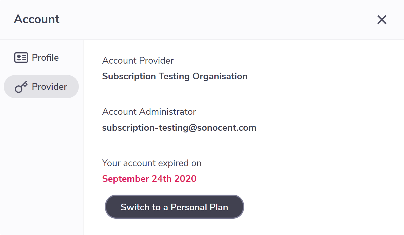 Account summary showing Plan details with a button to 'Switch to a personal plan.