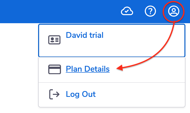 Account menu dropdown with arrow pointing to Plan details.