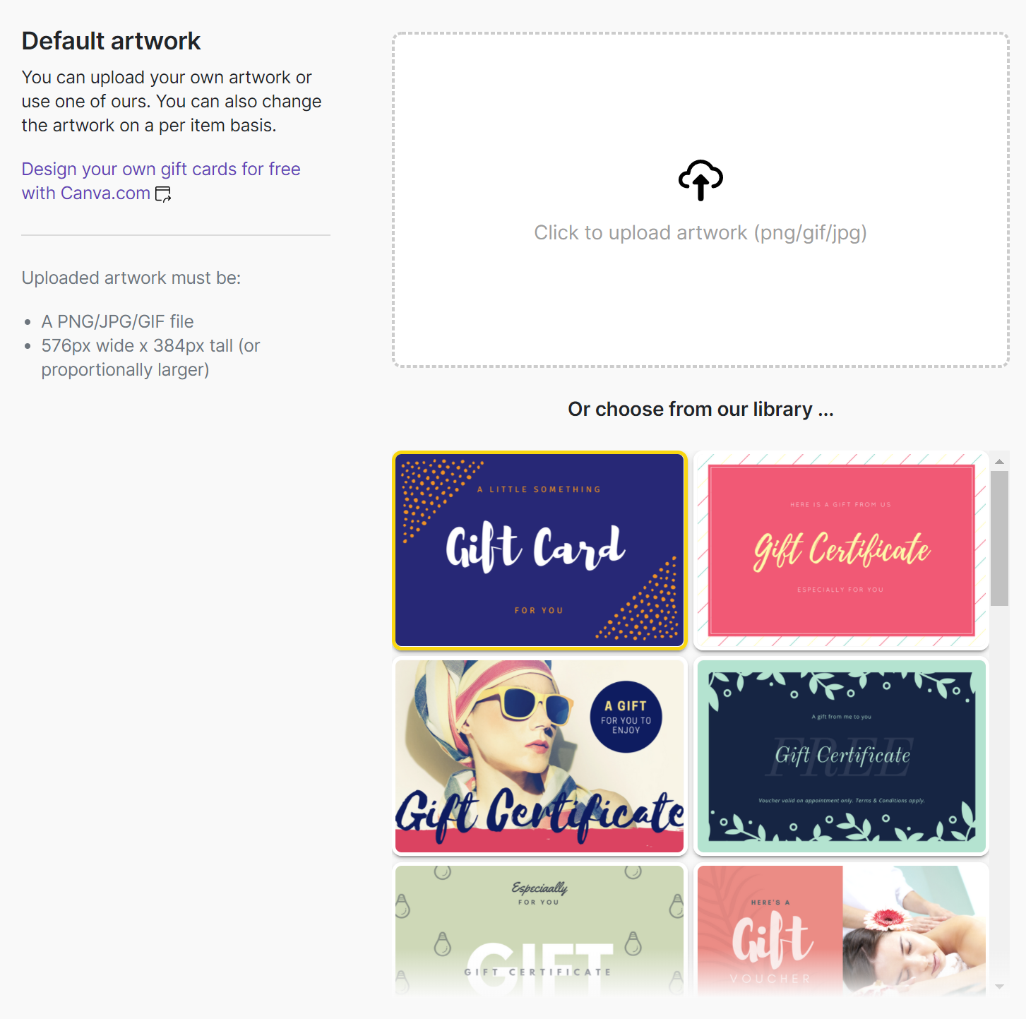 File Check Out Card how to create and upload a gift card design - gift up! help desk