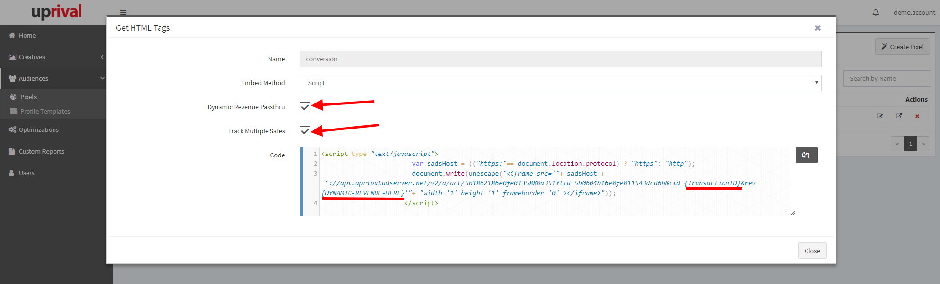 Get Pixel Tag - UpRival Knowledge Base