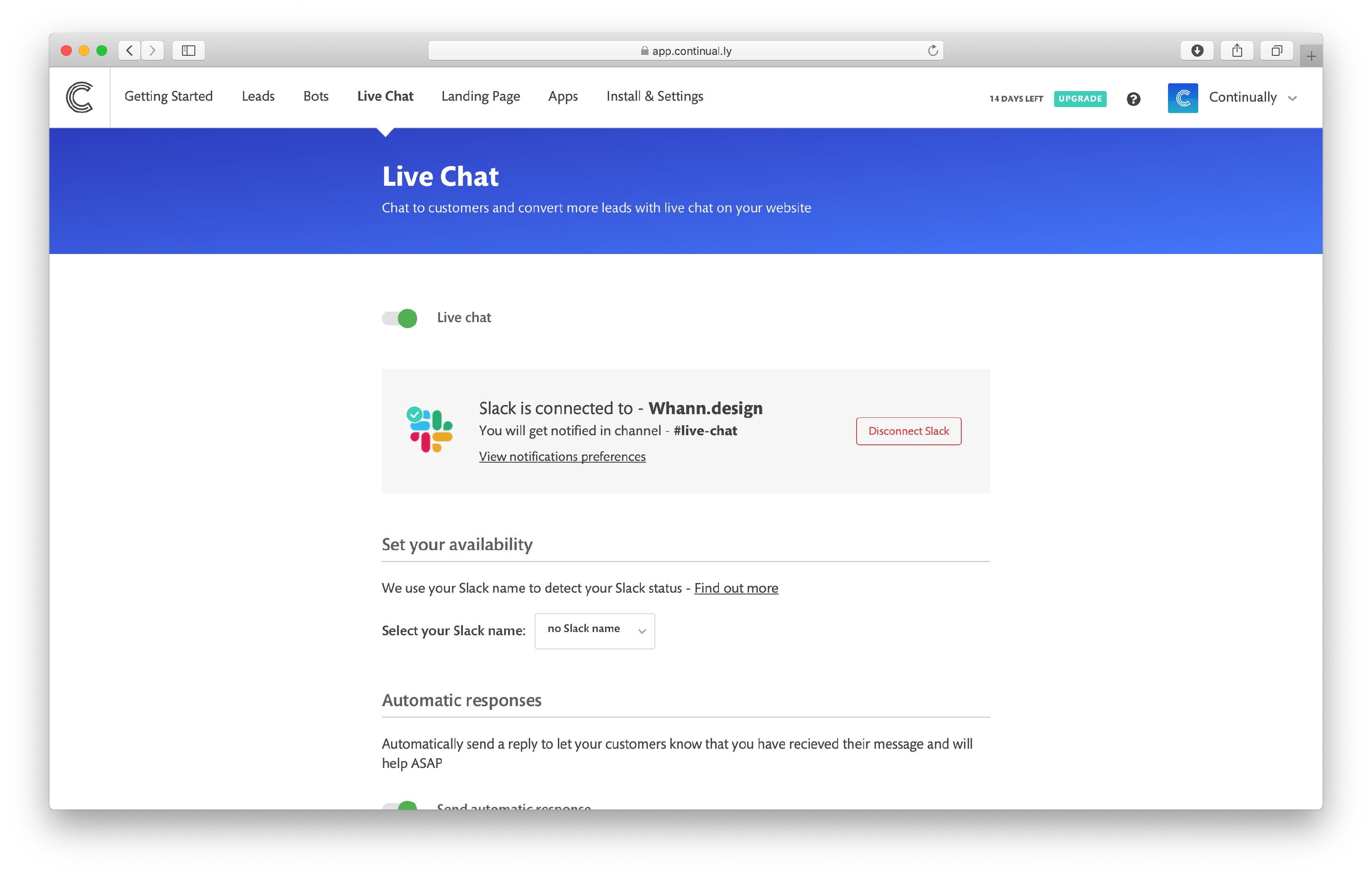 How to turn Live chat on/off: