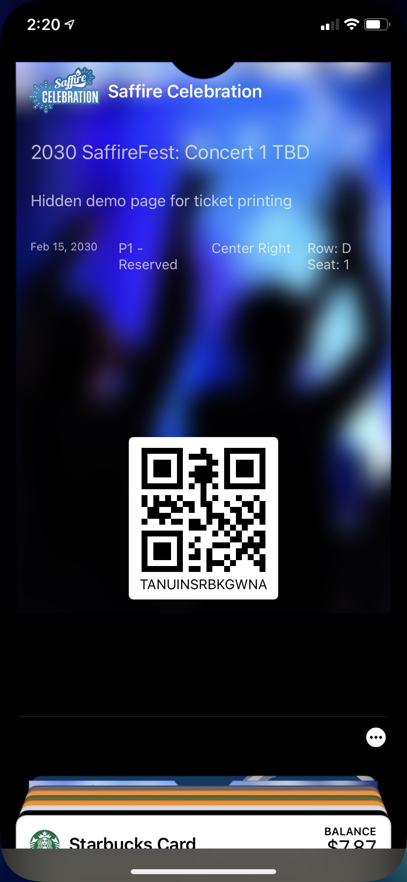 iPhone Xr - Apple Wallet Ticket Front