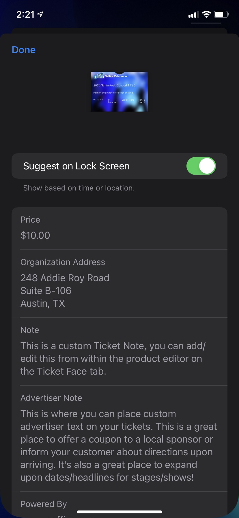 iPhone Xr - Apple Wallet Ticket Back