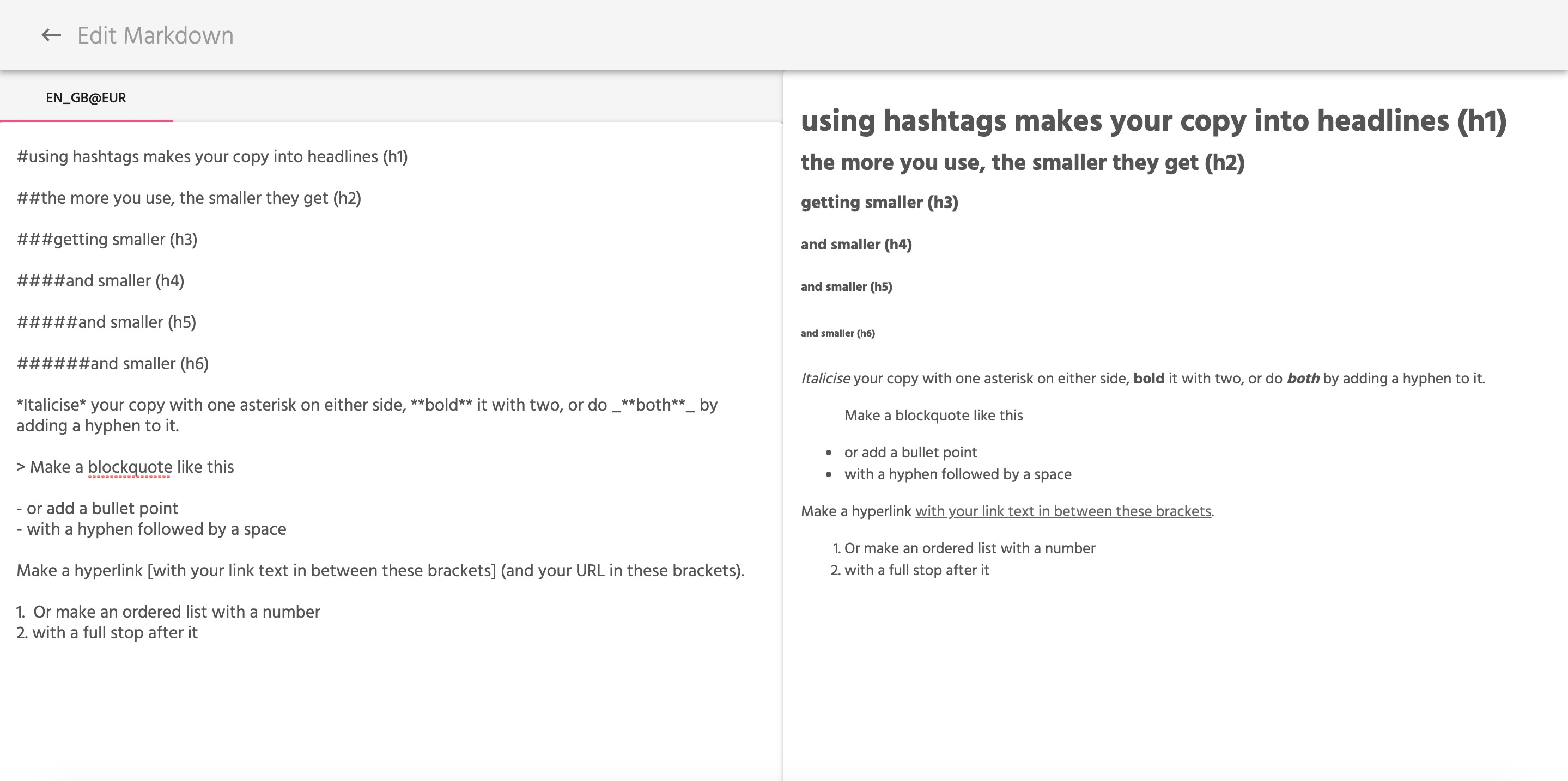 Using the Markdown Editor Guide to Markdown Syntax