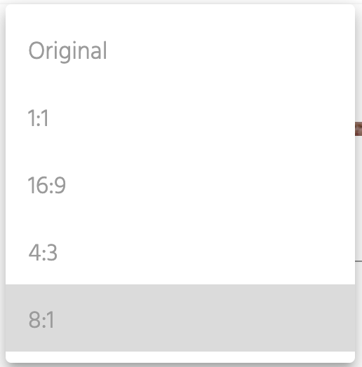 Image Crop Ratio Dropdown Screen