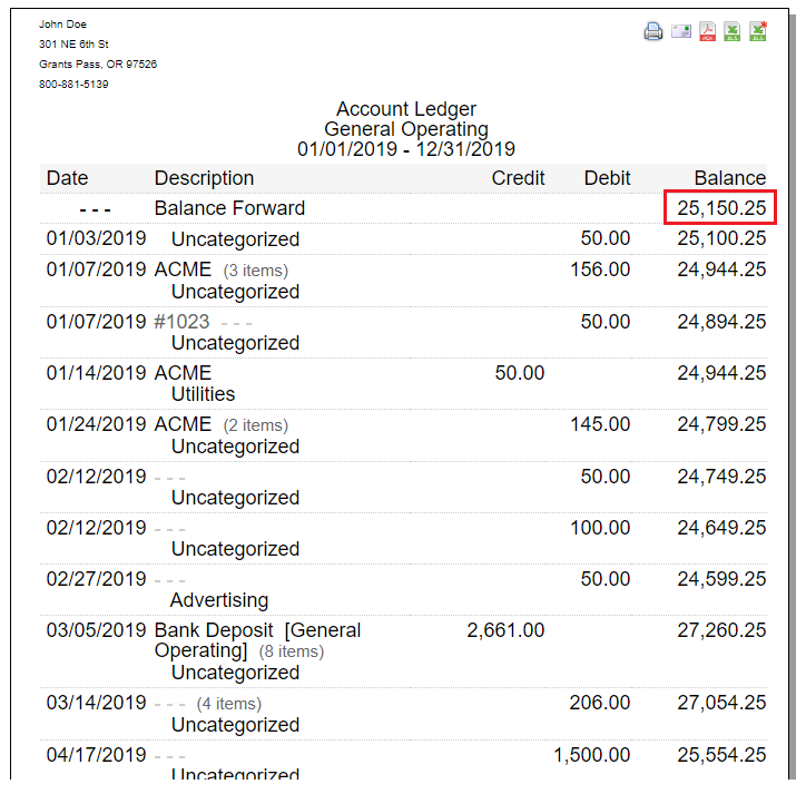 account ledger balance forward example