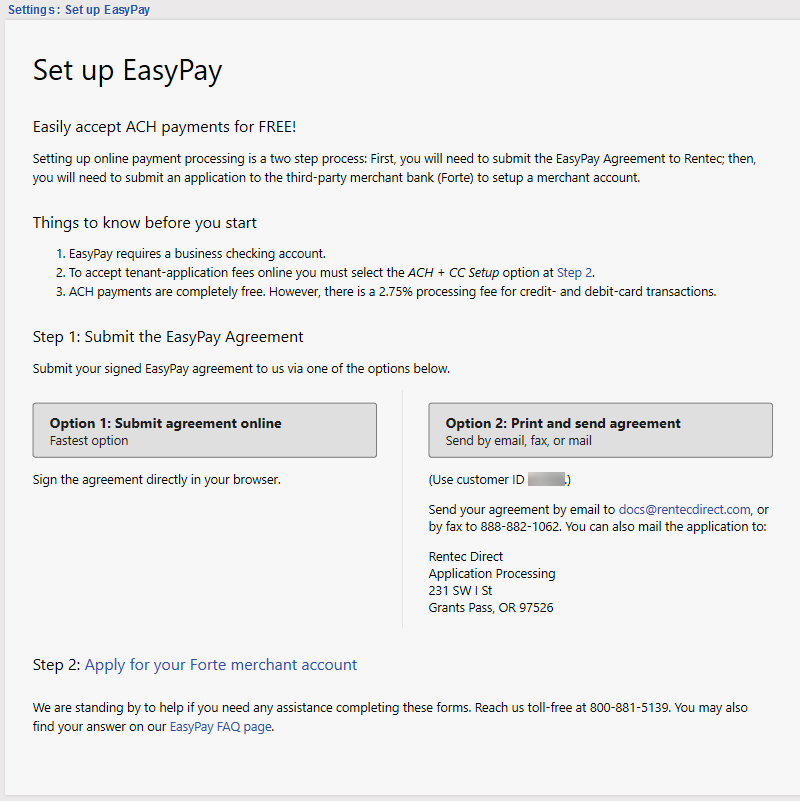 Set up EasyPay signup instructions