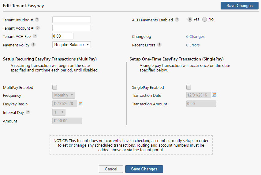 edit or enable tenant easypay settings