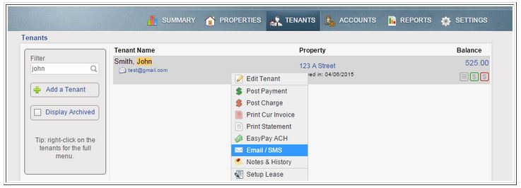 tenant tab menu options email SMS