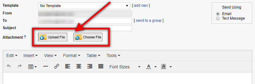 upload file or choose file to send in email