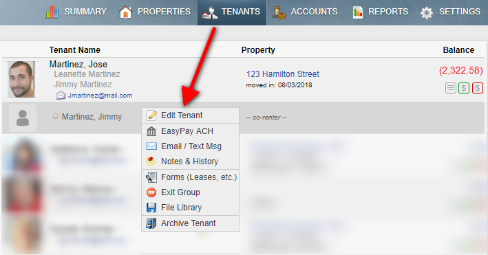 Tenant Tab menu edit tenant option