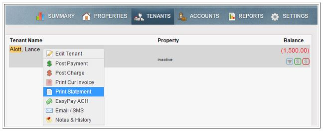 Tenant menu choices showing the print statement option