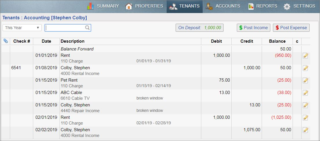 Tenant ledger view with On Deposit button